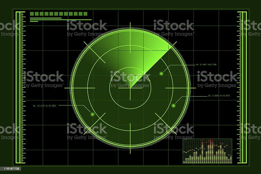 Green radar logo over rectangular grid, with audio bar graph vector art illustration