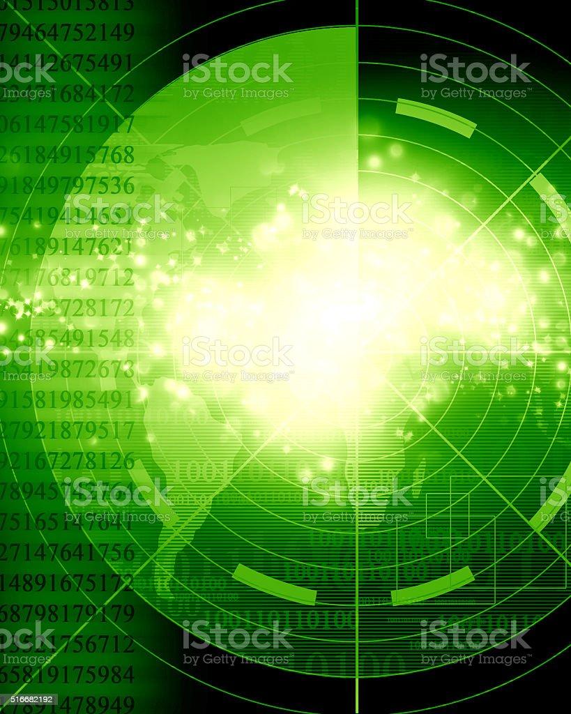 Green radar screen vector art illustration