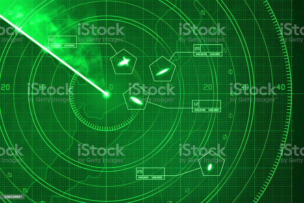 Green radar screen with military targets and data vector art illustration