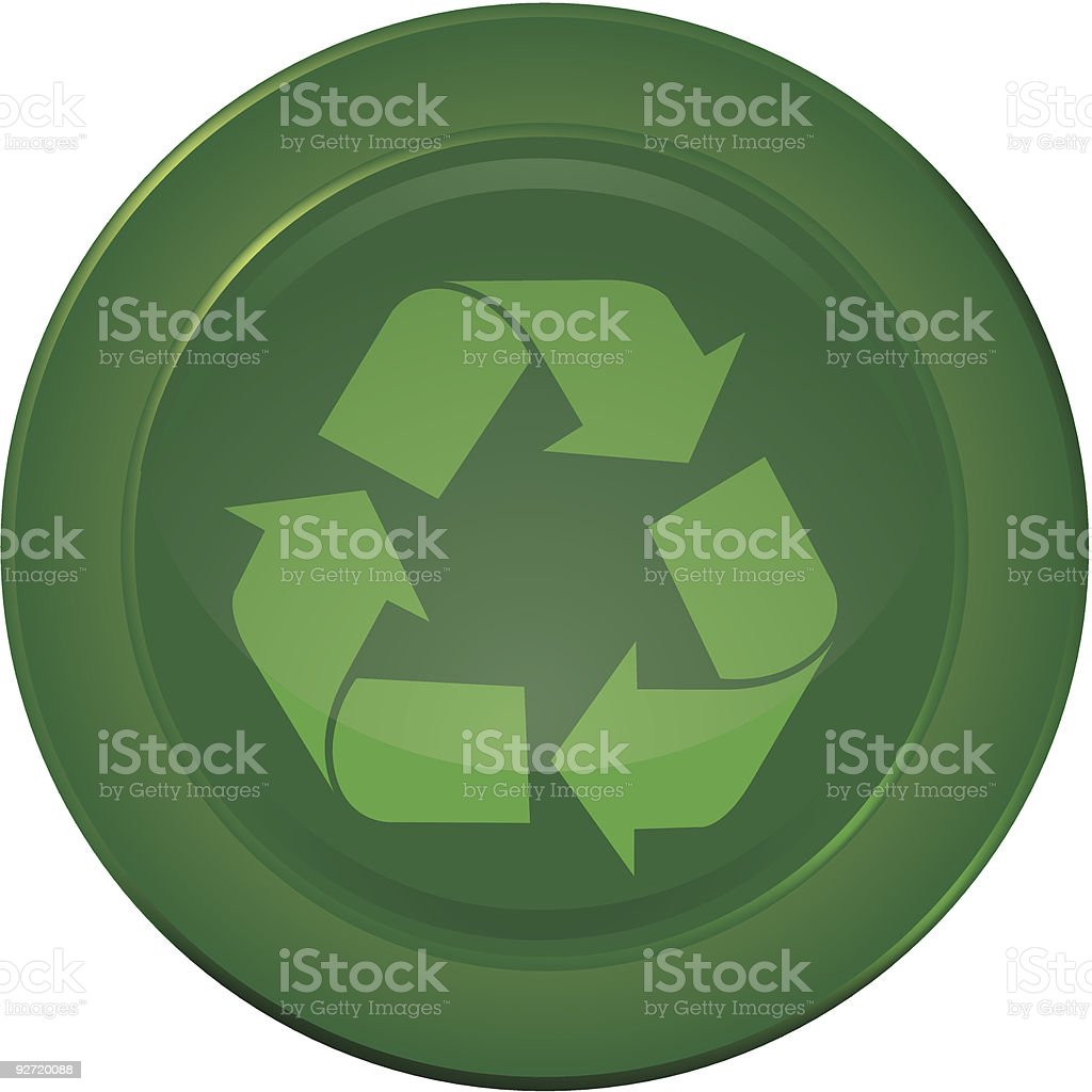 Green Recycle button vector art illustration