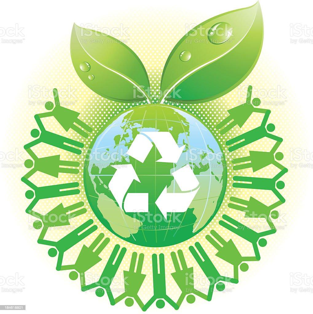 green recyle world vector art illustration