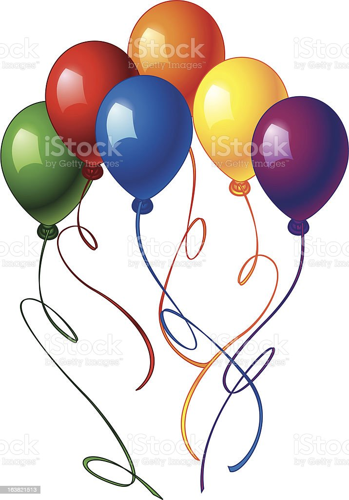 green, red, blue, orange, yellow and purple balloons royalty-free stock vector art
