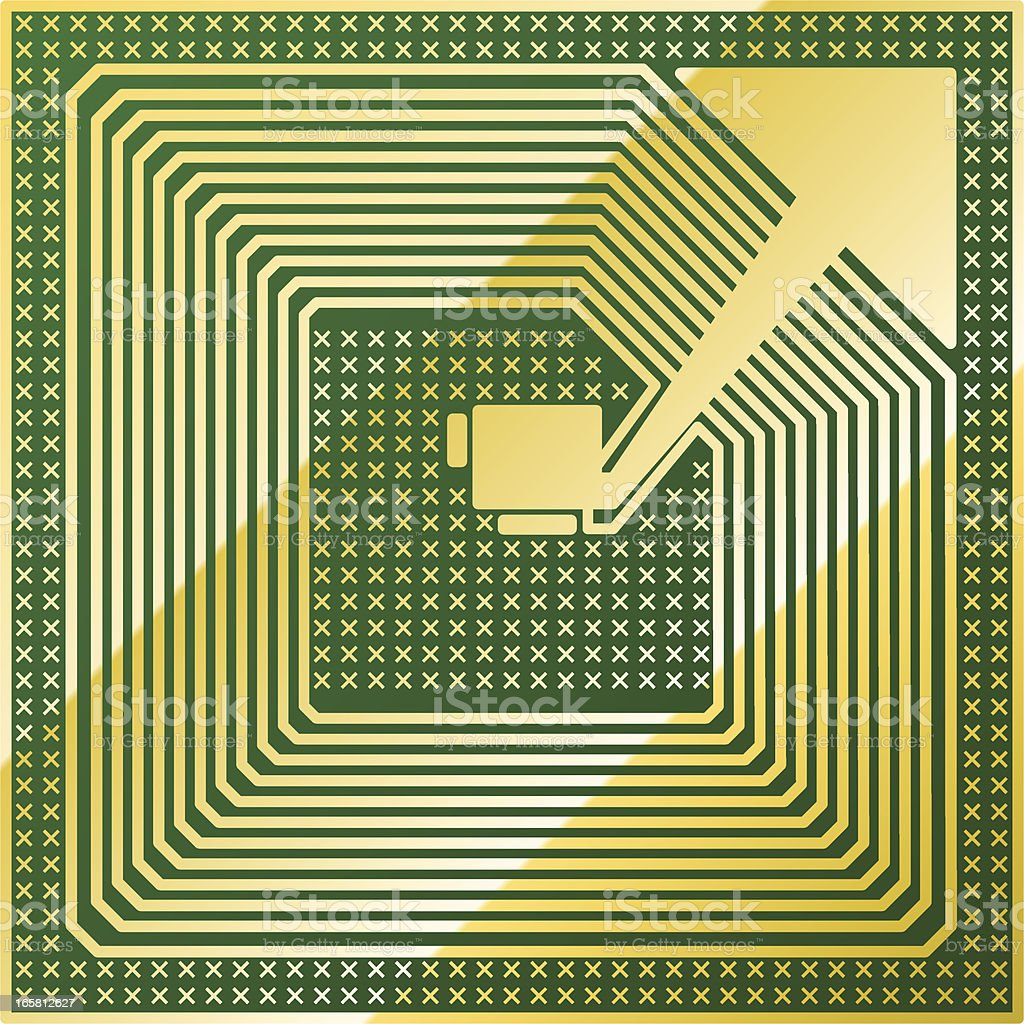 green rfid chip royalty-free stock vector art