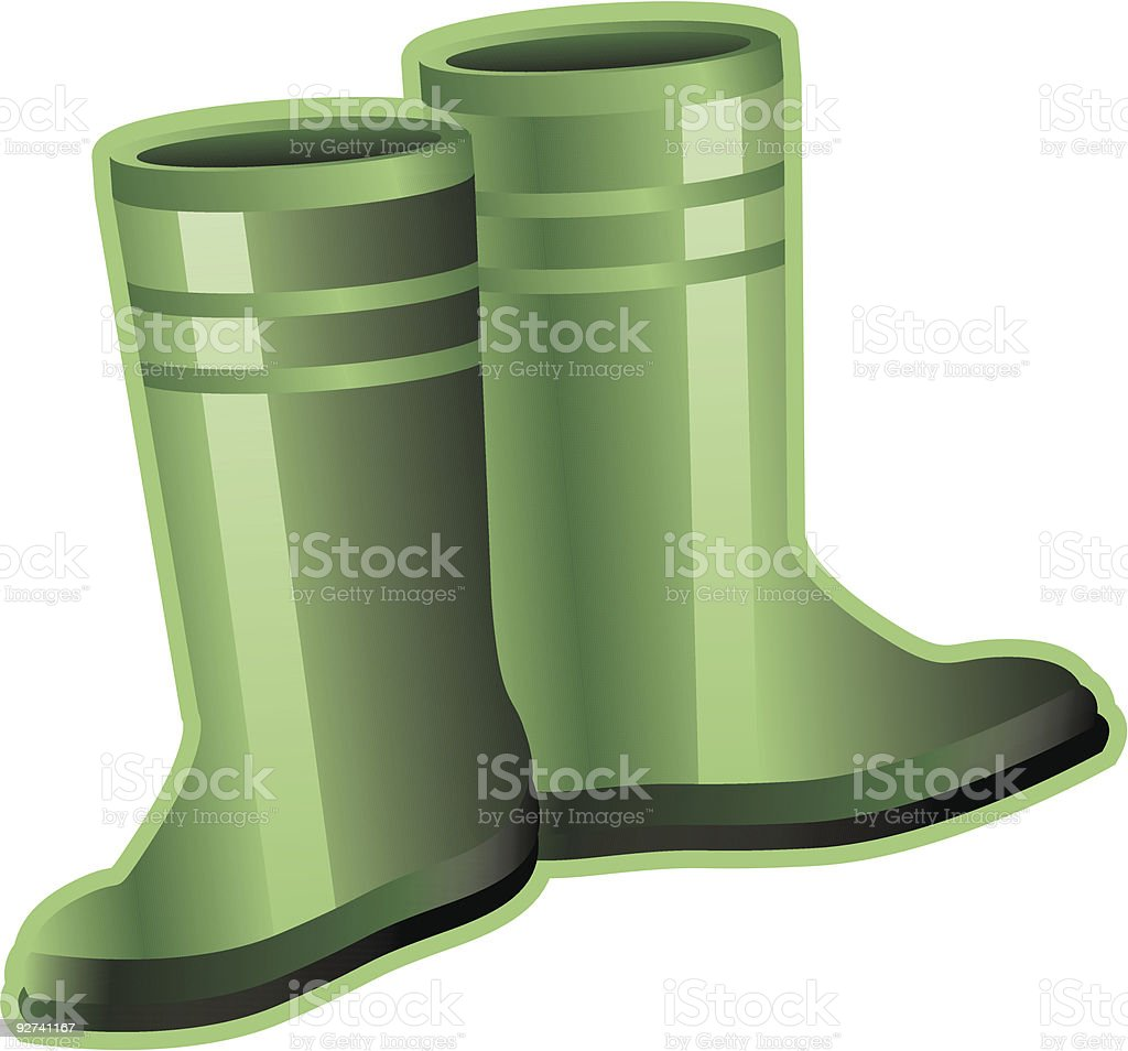 Green Rubber Boots royalty-free stock vector art