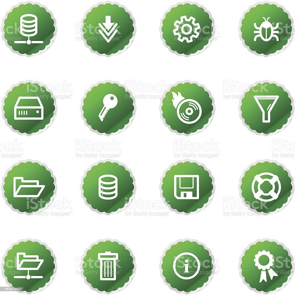 green sticker server icons royalty-free stock vector art