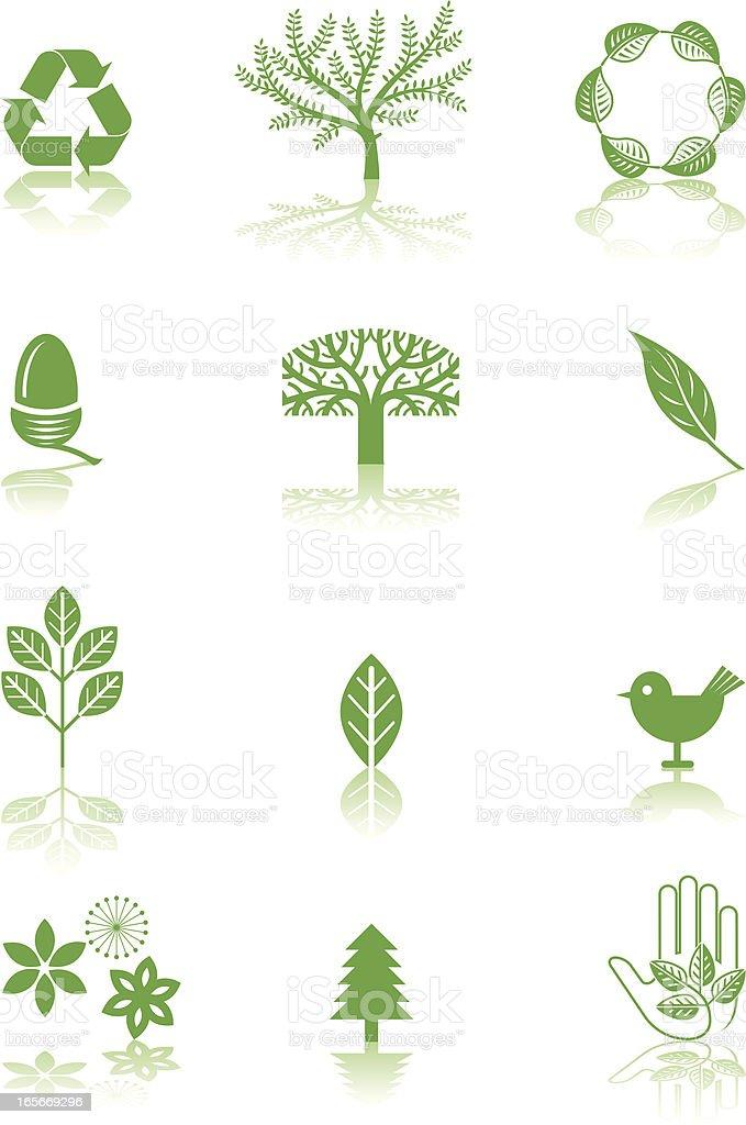 Green symbols vector art illustration
