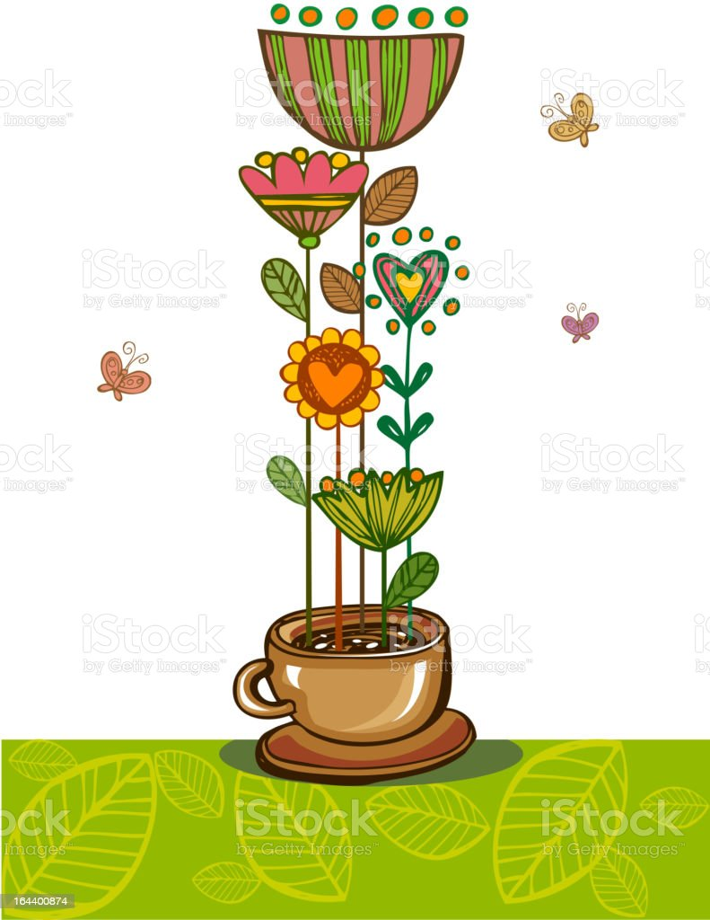 Green Tea with herbs royalty-free stock vector art