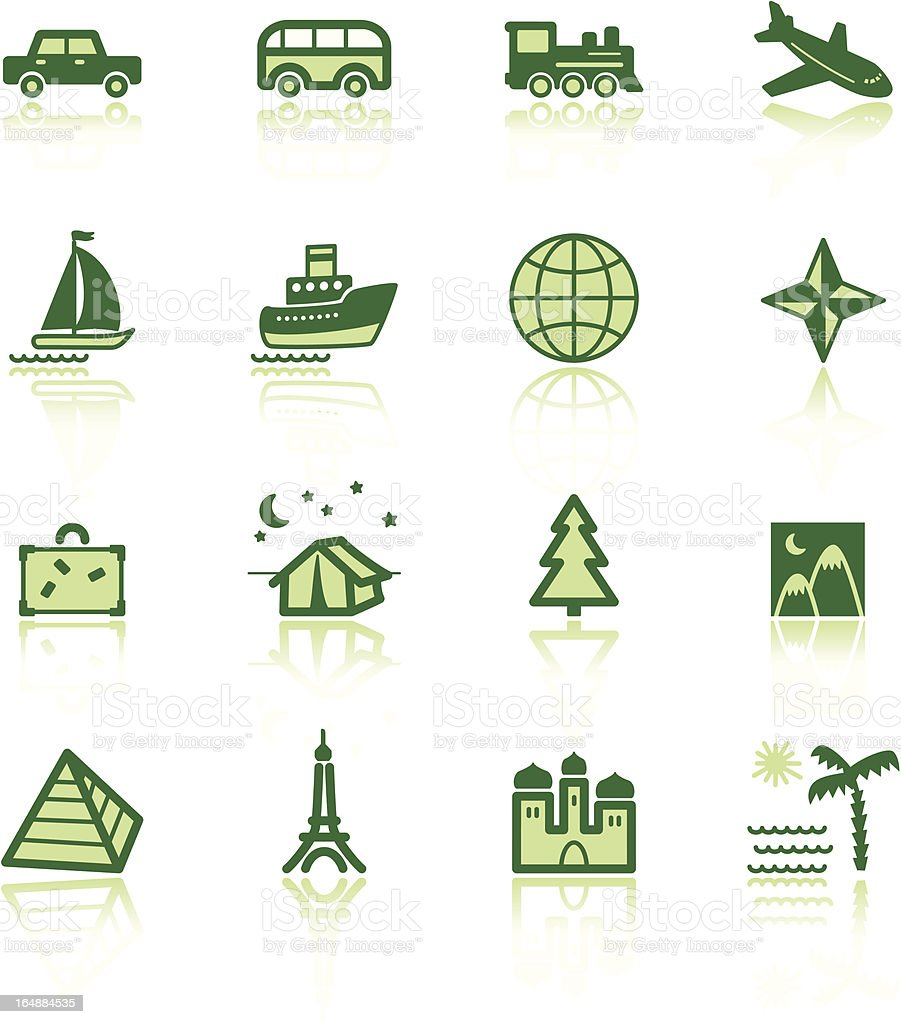 green travel icons royalty-free stock vector art