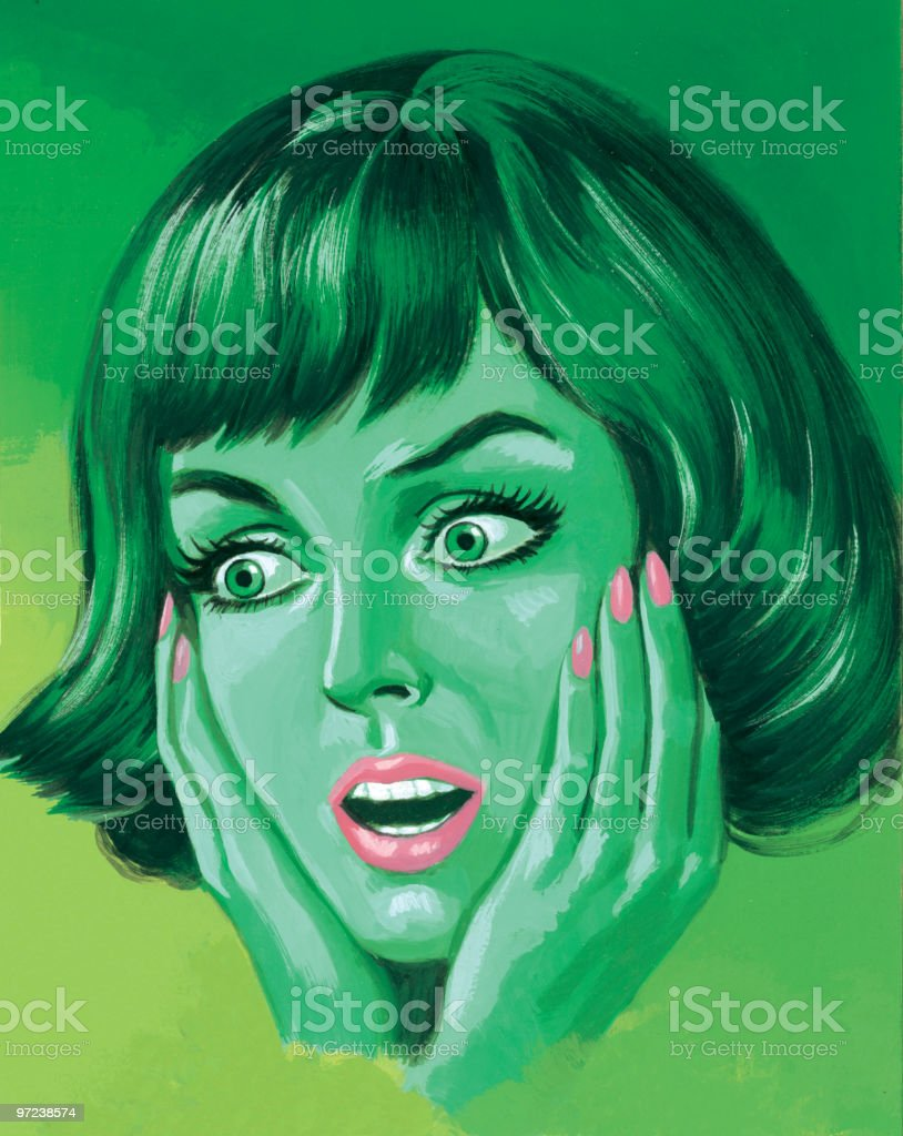 Green Woman Holding Her Face royalty-free stock vector art