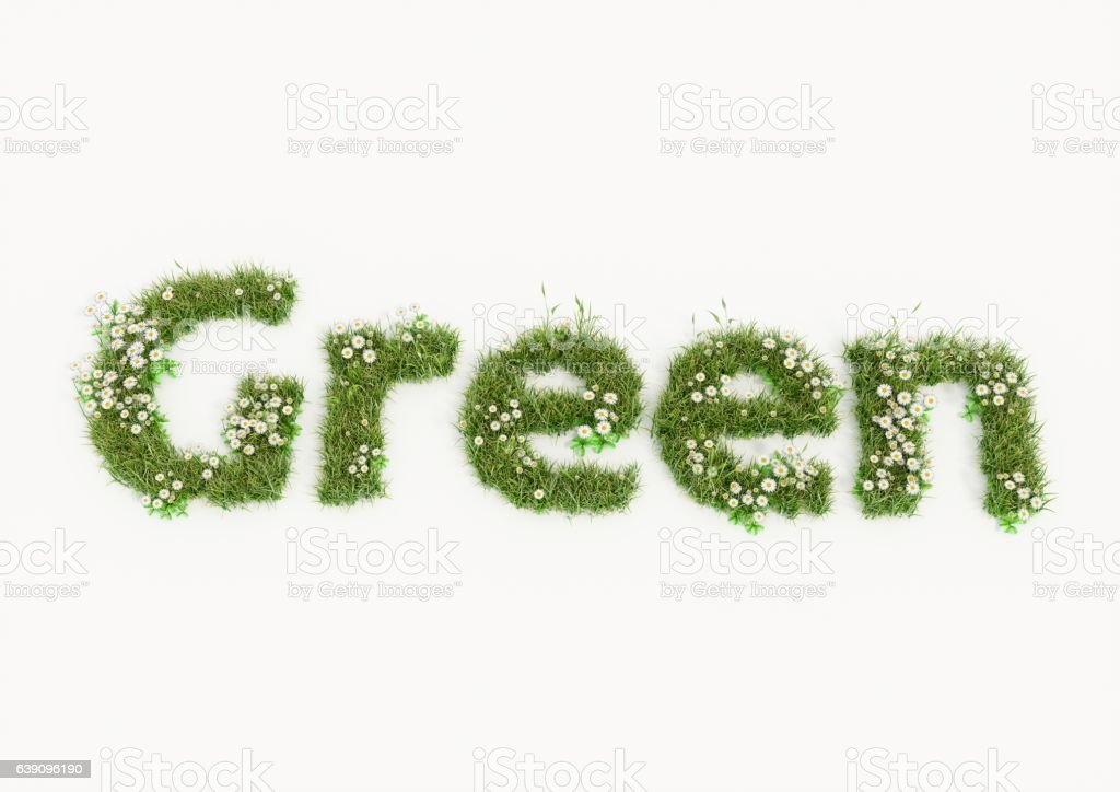 Green word typed by flowers and grass vector art illustration