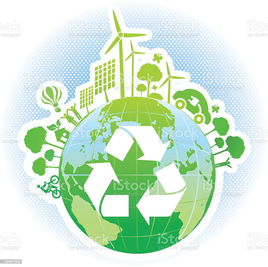 green world with recycle symbol and renewable energy royalty-free stock vector art