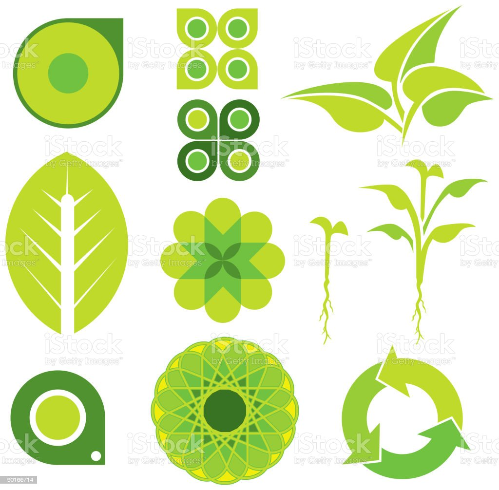 Greenery Elements 01 vector art illustration