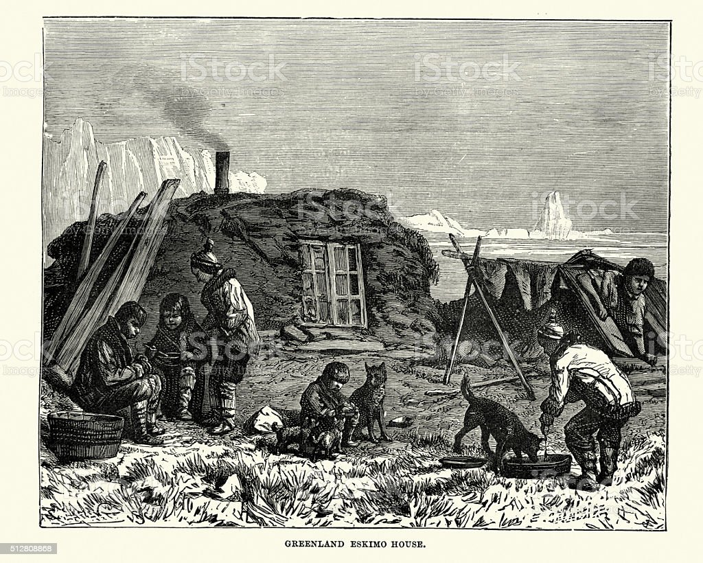 Greenland Eskimo house in the 19th Century vector art illustration