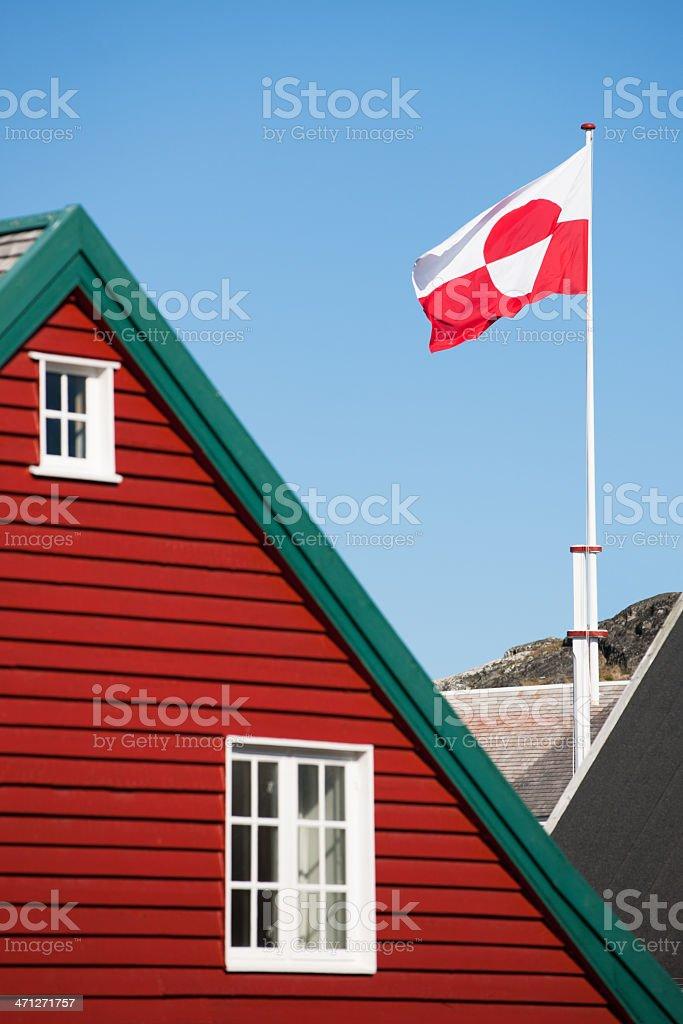 Greenland Flag in the Wind Nuuk vector art illustration