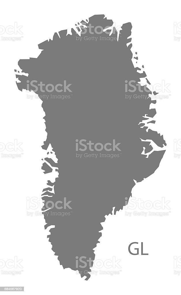 Greenland Map grey vector art illustration