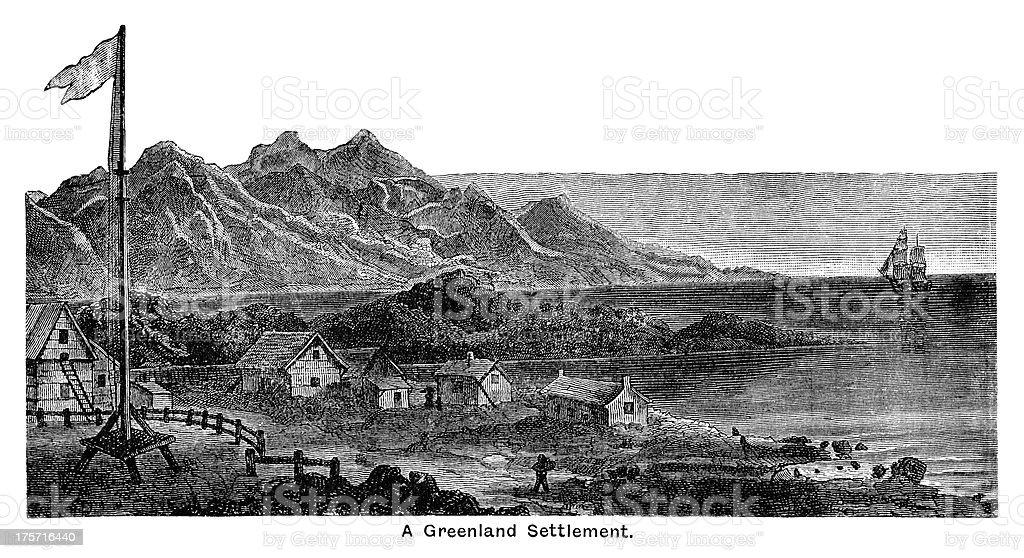 Greenland village - Victorian engraving royalty-free stock vector art