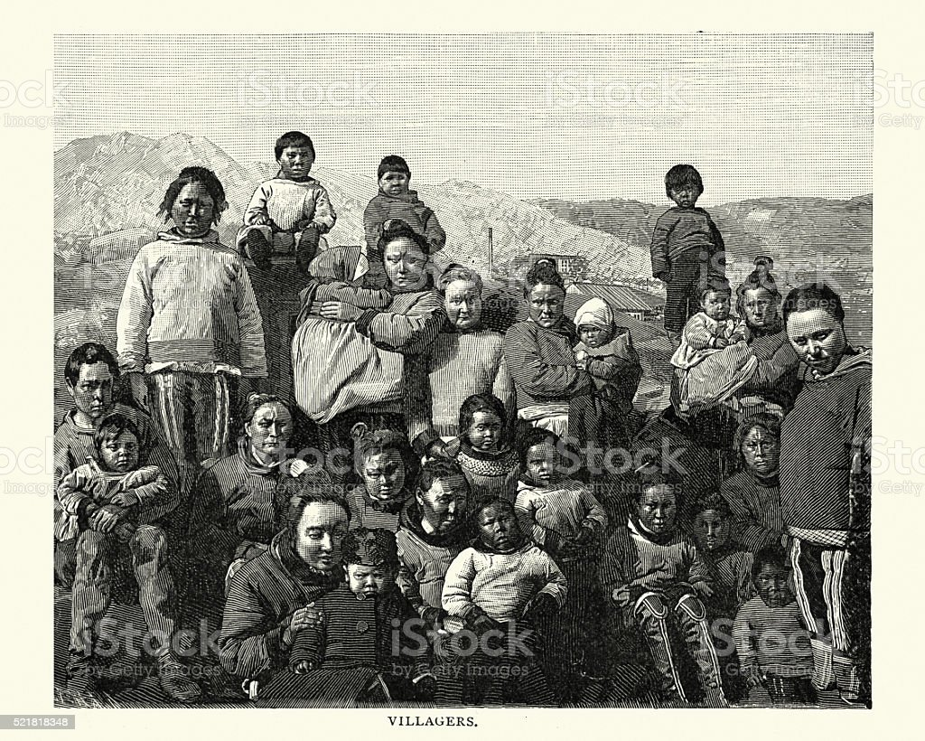 Greenland Villagers, 19th Century vector art illustration