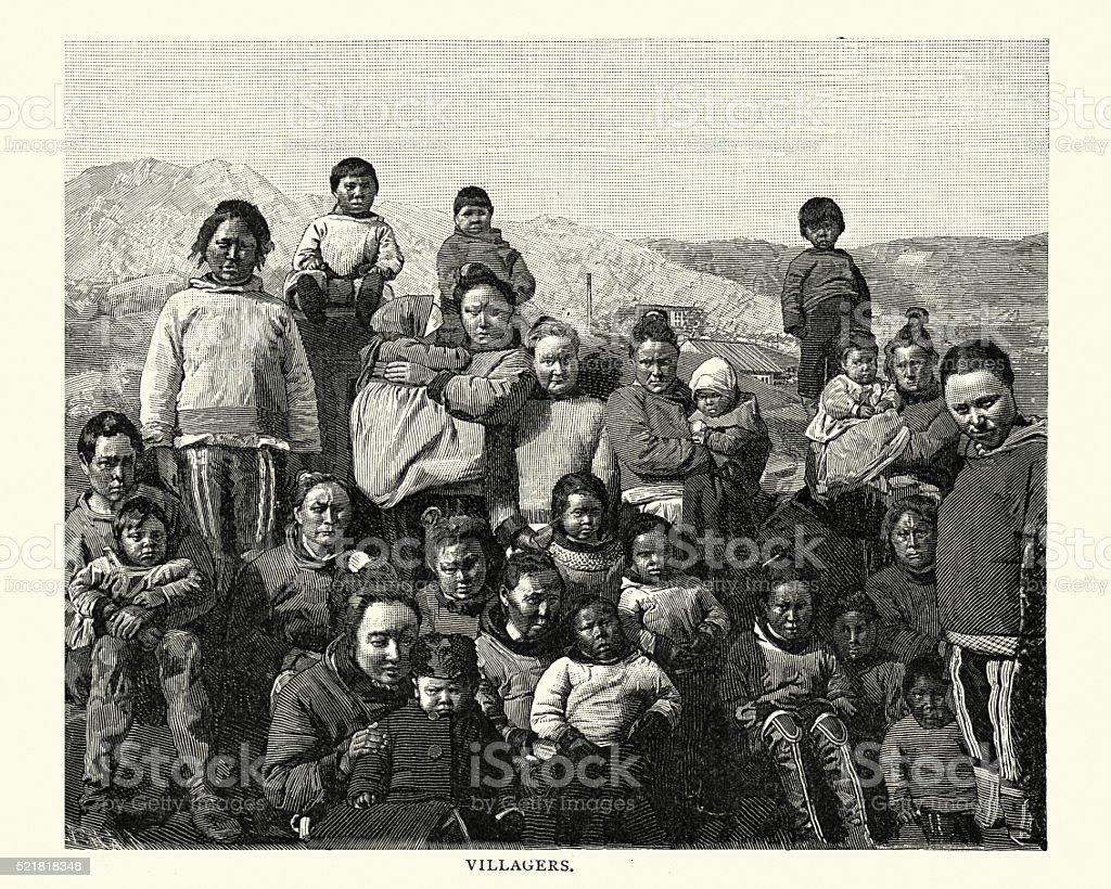 Greenland Villagers, 19th Century vector art illustration