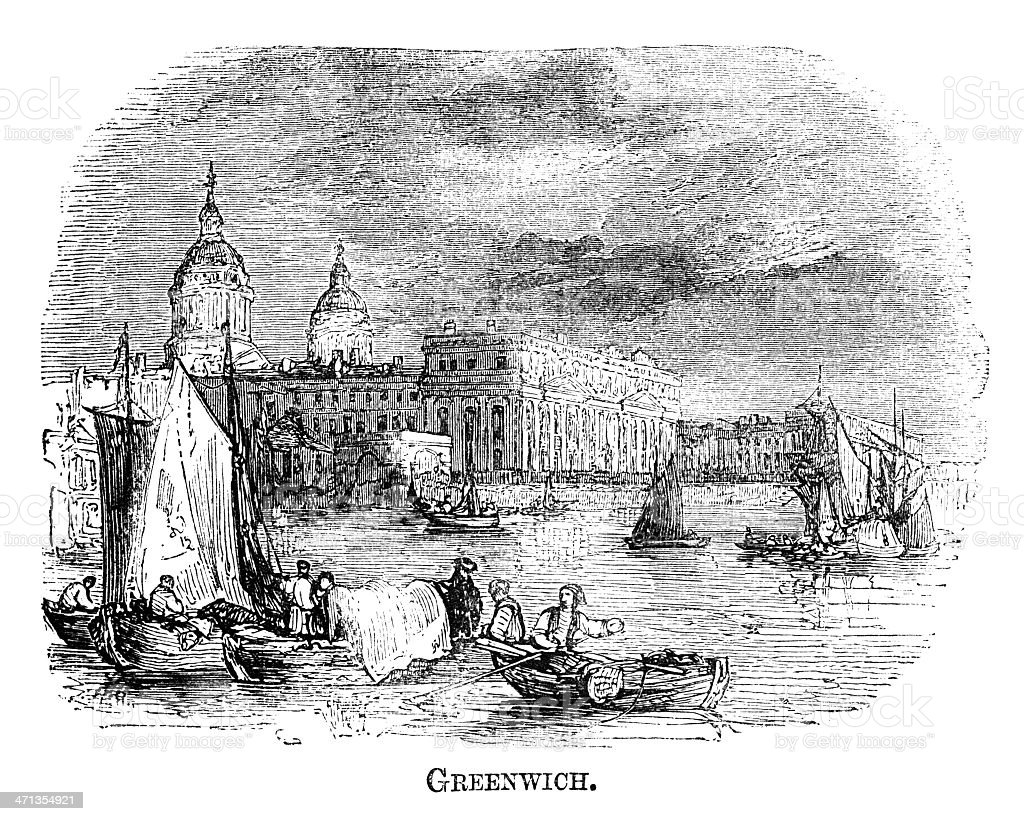 Greenwich (1871 engraving) royalty-free stock vector art