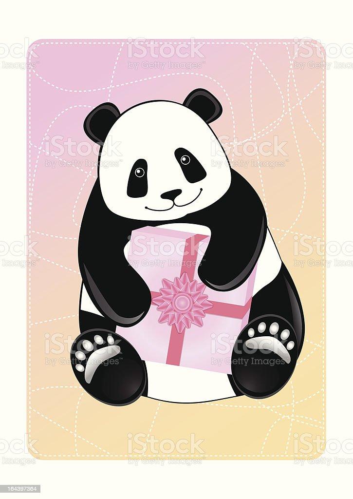 Greeting card of a panda. royalty-free stock vector art