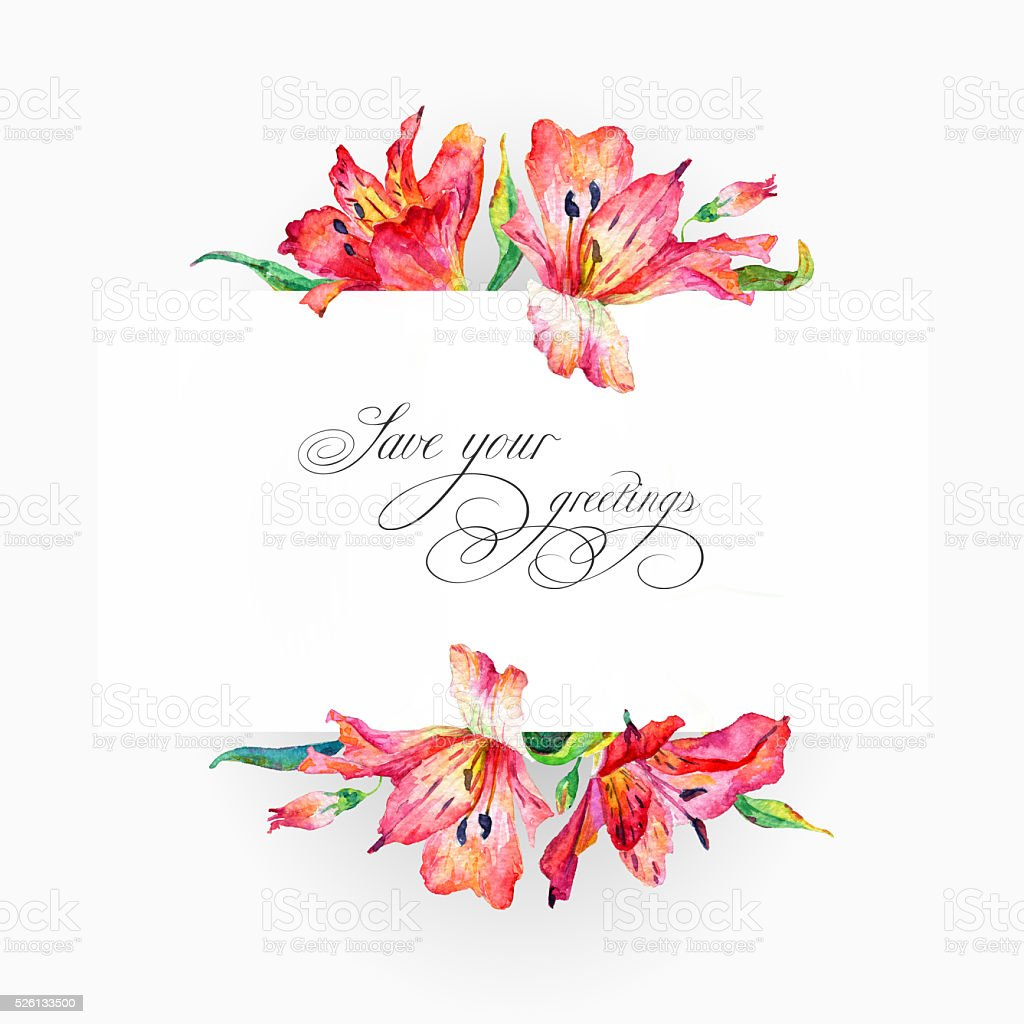 Greeting card  with pink watercolor lilies. vector art illustration