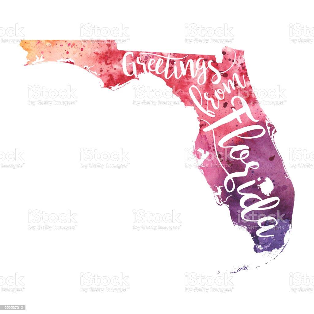 Greetings From Florida Watercolor Map Stock Vector Art - Florida map vector free