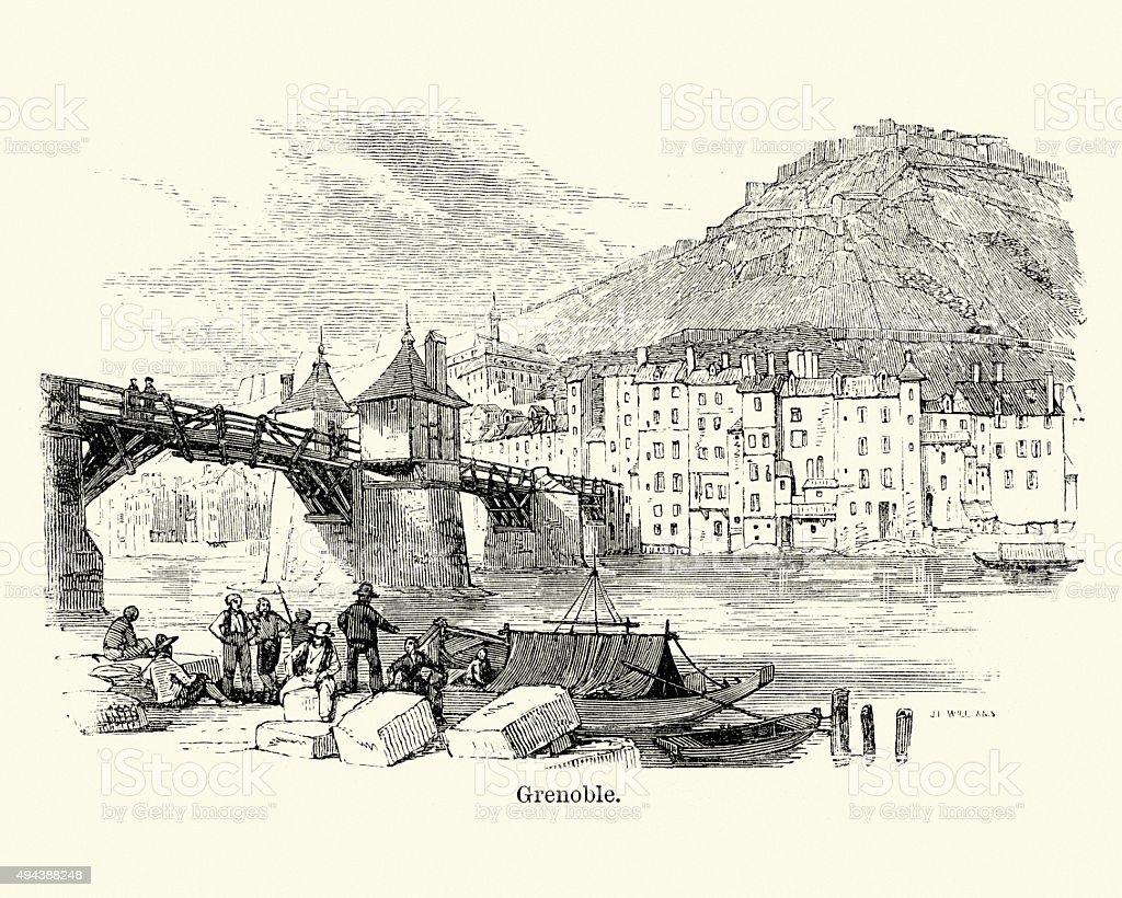 Grenoble in the 19th Century vector art illustration