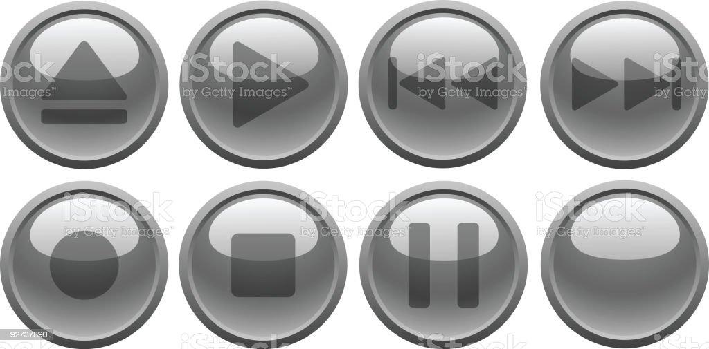 Grey media buttons. [Vector] royalty-free stock vector art
