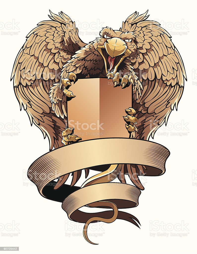 Griffon with shield and placard. Heraldic design element. vector art illustration