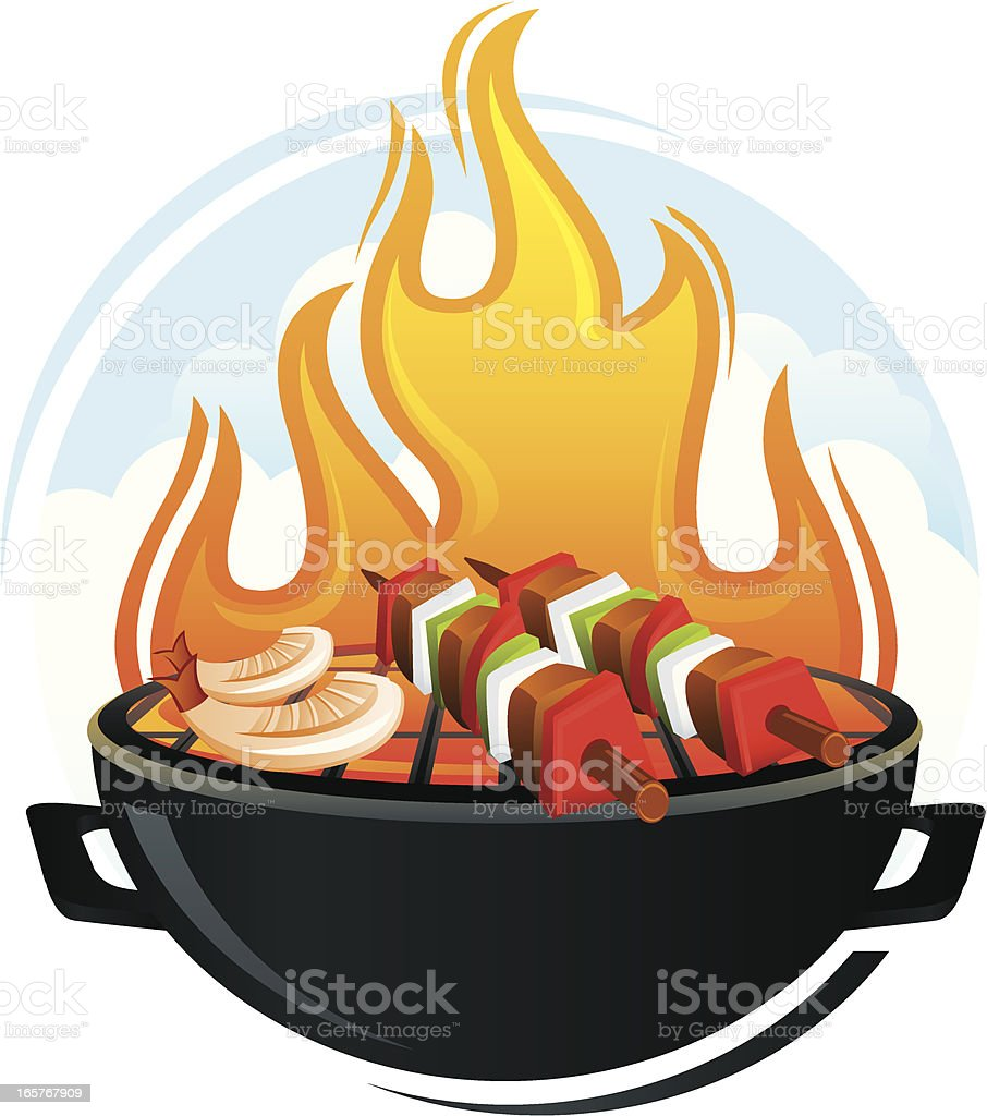 BBQ Grill Illustration with Shish Kabobs and Shrimp royalty-free stock vector art