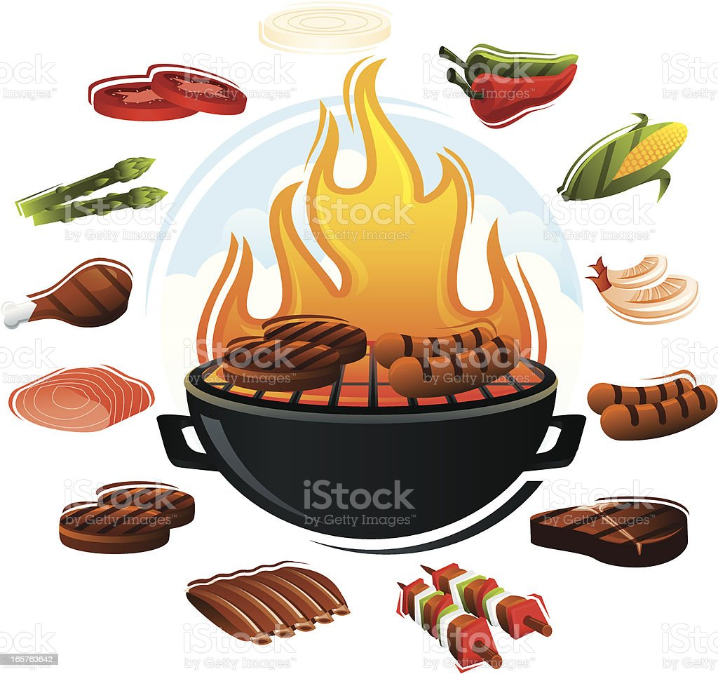 Grill with Food Types vector art illustration