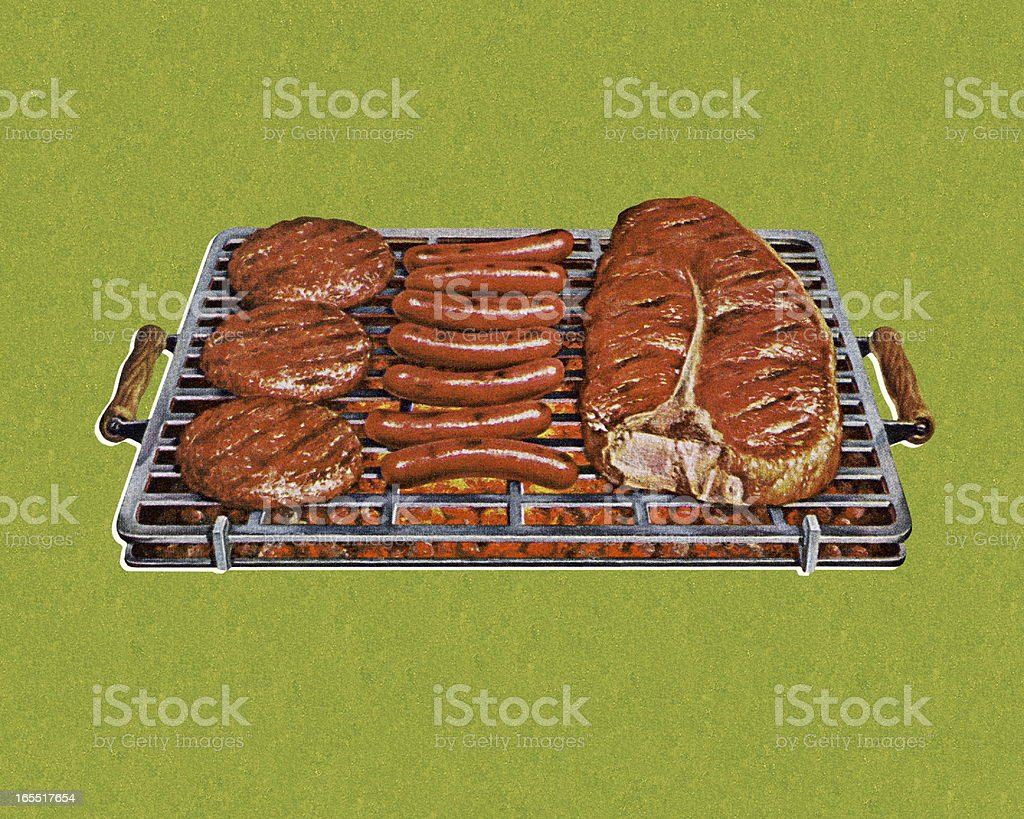 Grill with Hamburgers, Hot Dogs, and a Steak vector art illustration