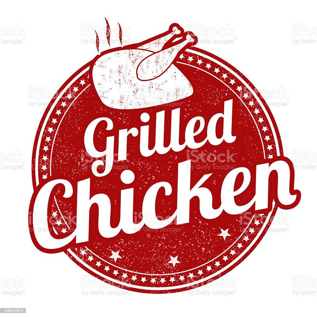 Grilled chicken stamp vector art illustration