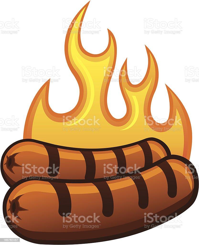 Grilling Hot Dogs vector art illustration