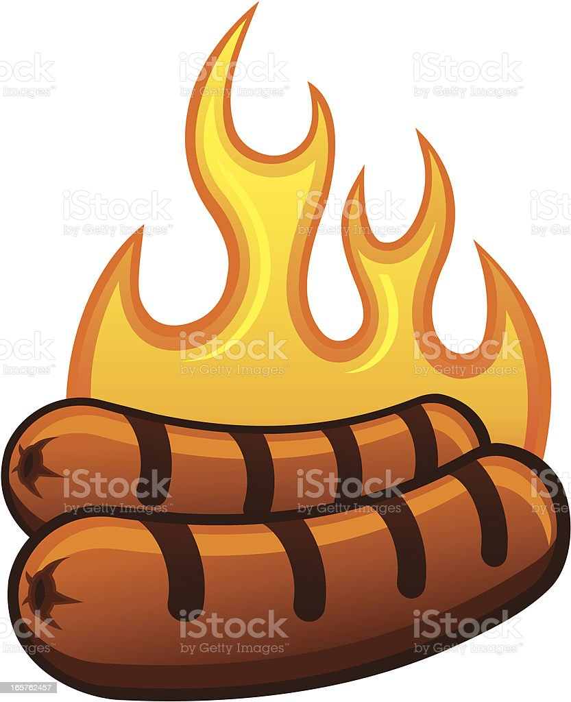 Grilling Hot Dogs vector art illustration