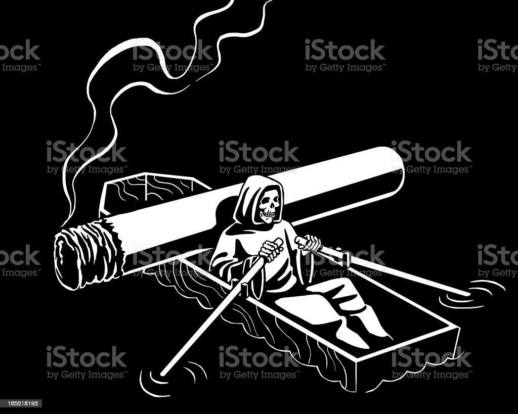 Grim Reaper Rowing a Casket Boat royalty-free stock vector art