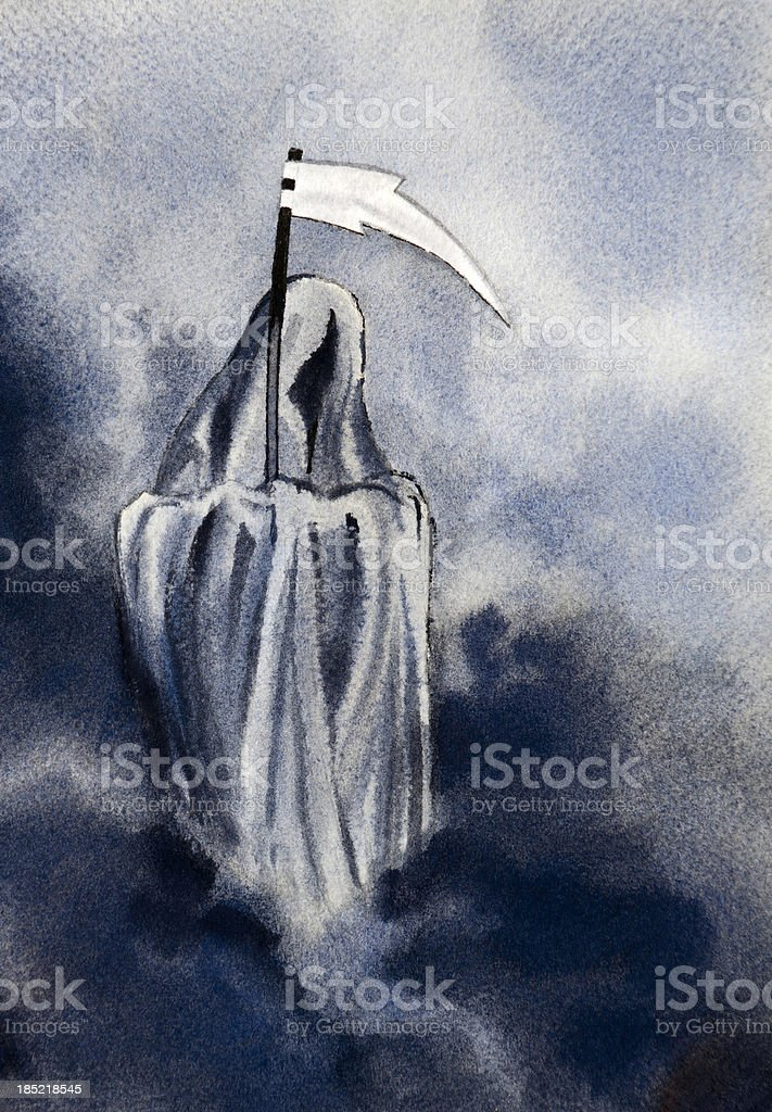 Grim Reaper Waits with Gleaming Scythe royalty-free stock vector art