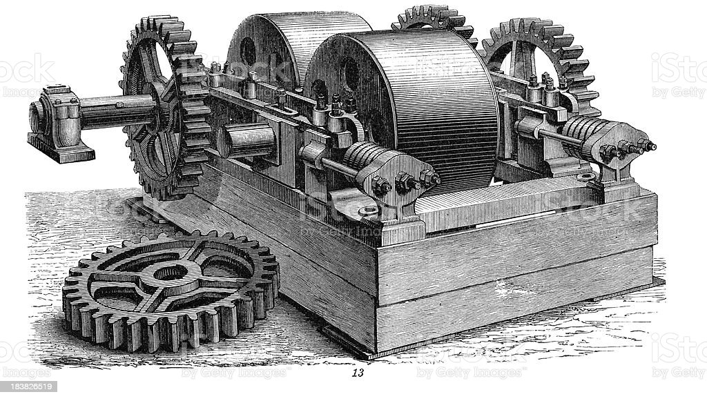Grinding Machine- Industrial Revolution Machinery vector art illustration