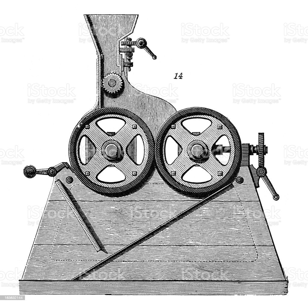 Grinding Machine - Industrial Revolution Machinery vector art illustration