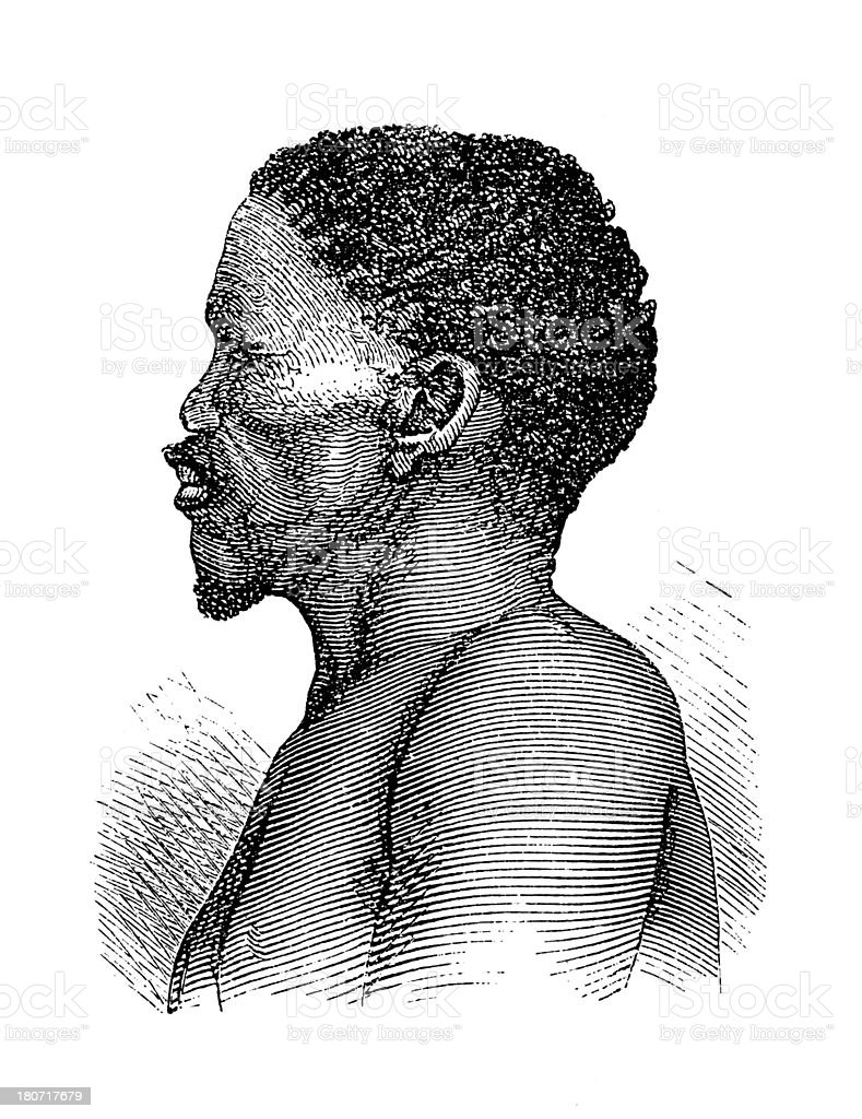 Griqua man, South Africa (antique wood engraving) royalty-free stock vector art