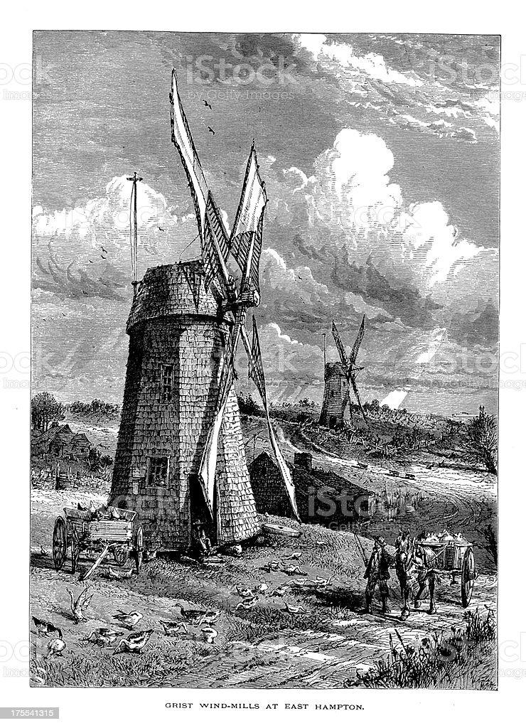 Grist Windmill in East Hampton, New York | Historic Illustrations royalty-free stock vector art