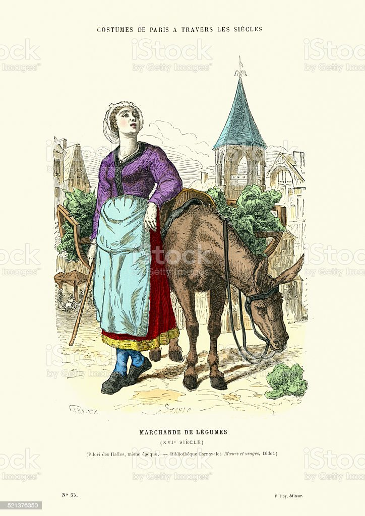 Grocer of 16th Century, France vector art illustration