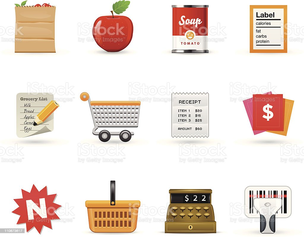 Grocery Icons  |   Satin Series vector art illustration