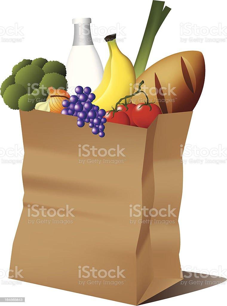 Grocery paper bag vector art illustration