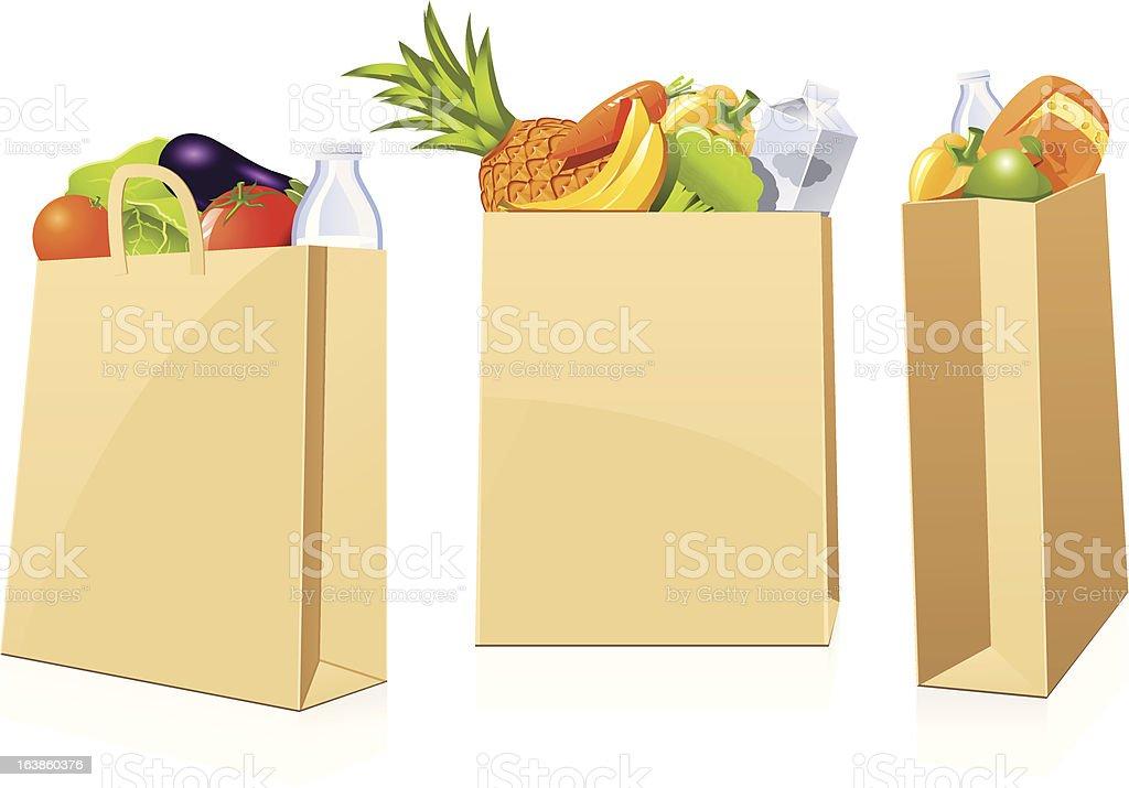 Grocery shopping bags vector art illustration