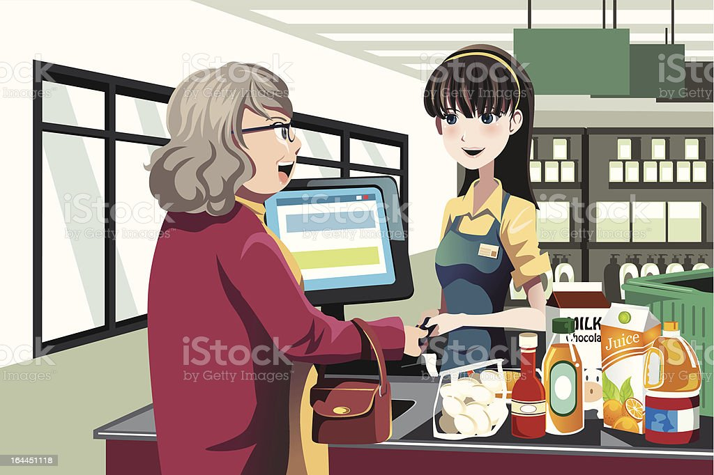 Grocery shopping royalty-free stock vector art