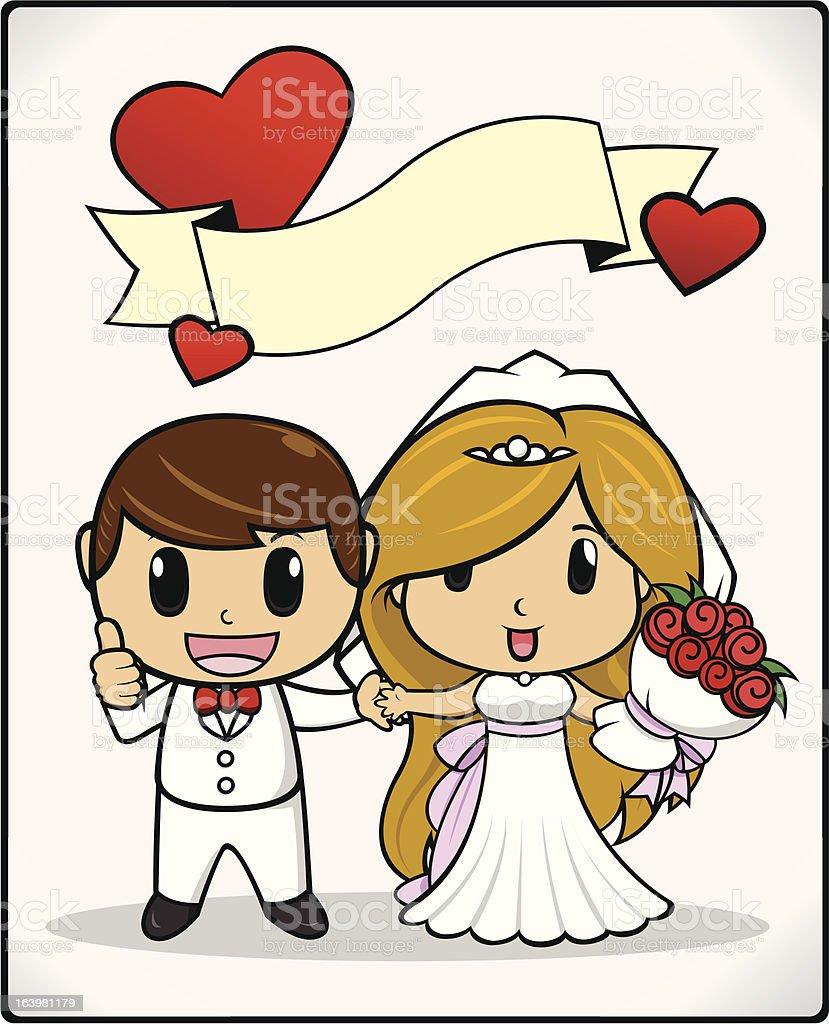 Groom and Bride Wedding royalty-free stock vector art