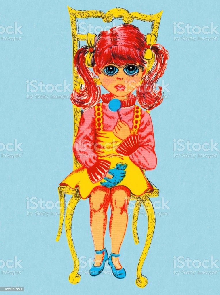 Groovy Girl Sitting vector art illustration