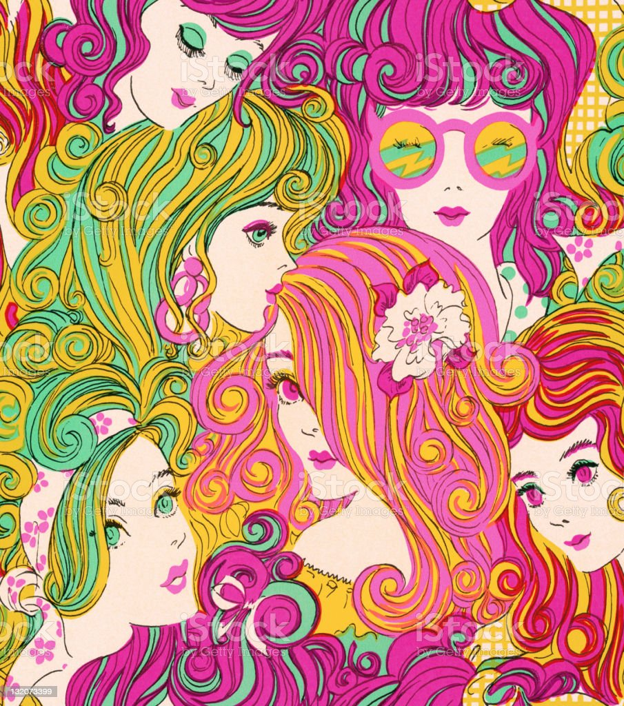 Groovy Girls With Colored Hair royalty-free stock vector art