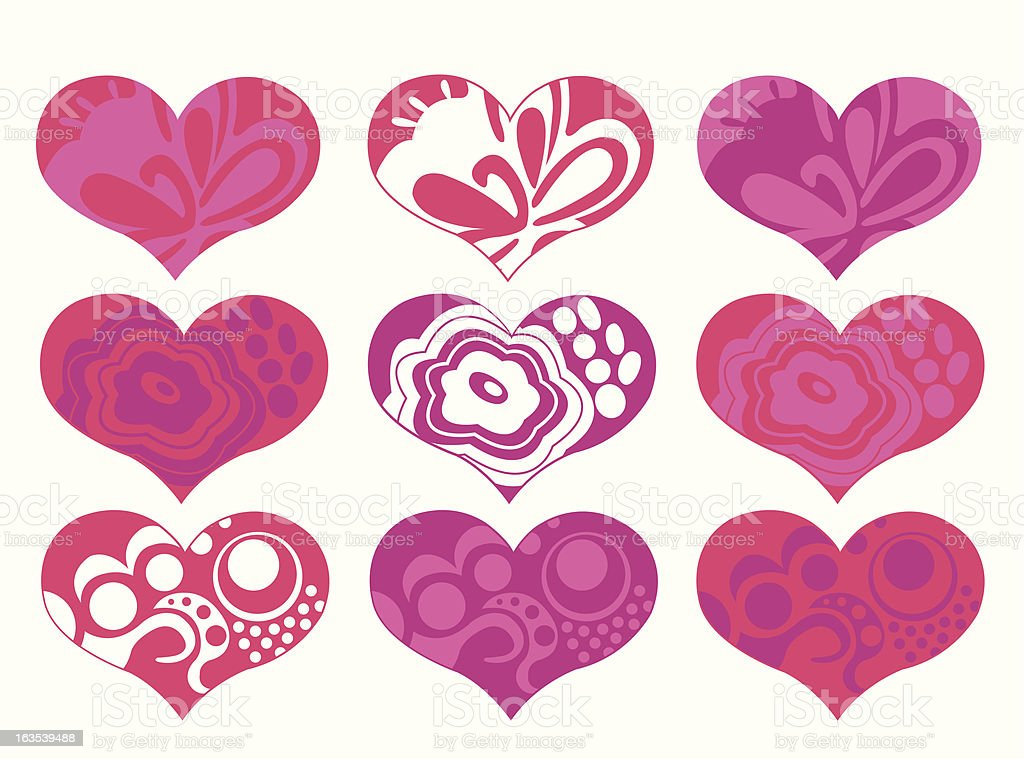 Groovy Hearts royalty-free stock vector art